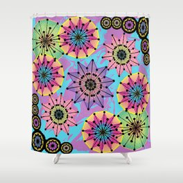 Vibrant Abstract Floral Pattern Shower Curtain