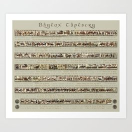 Bayeux Tapestry on cream - Full scenes and description Art Print
