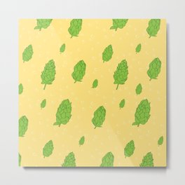 Hops Beer Pattern Metal Print