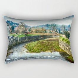 The river Sella and a bridge Rectangular Pillow
