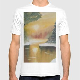 Snowy scenery at sunset, winter landscape, pine trees, frozen lake, original painting by Luna Smith T-shirt