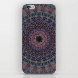 Mandala in blue and red tones iPhone Skin