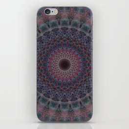 Mandala in blue and red tones iPhone Skin