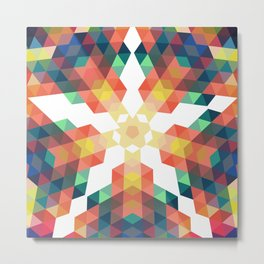 Retro star backdrop. Mosaic hipster background made of triangles Metal Print