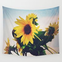 sunflower Wall Tapestries featuring sunflower by Sylvia Cook Photography