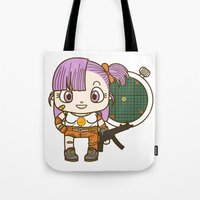 dragonball Tote Bags featuring Bulma and the dragonball radar by Samtronika