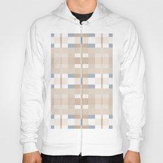 Beige and Blue Color Blocks Geometric Pattern Hoody