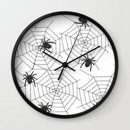 Black Spider Halloween web Wall Clock