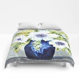 Anemones in vase Comforters