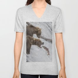 The Catch - Brown Bear vs. Salmon Unisex V-Neck