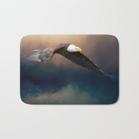Painting flying american bald eagle Bath Mat