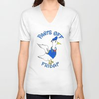 donald duck V-neck T-shirts featuring Pants Off Friday - Donald Duck by Bianca McKay