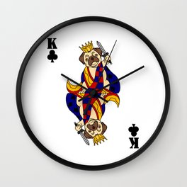 Pug Dog Card King Of Clove Card Game Playing Wall Clock
