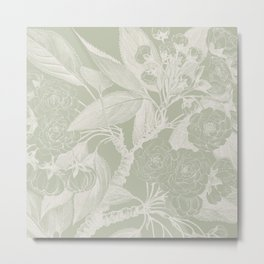 Floral, Rose, Vintage Print, Olive Green Metal Print