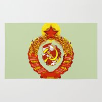 soviet Area & Throw Rugs featuring  STATE OF THE EMBLEM OF THE  SOVIET UNION  by Sofia Youshi
