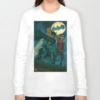 justice league Long Sleeve T-shirts featuring bat man the watch men justice league man of steel by Brian Hollins art