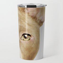 Pitbull light brown Dog illustration original painting print Travel Mug