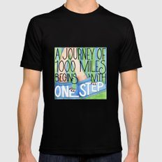 A Journey of 1000 Miles Black Mens Fitted Tee MEDIUM