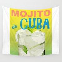cuba Wall Tapestries featuring Mojito de Cuba by Hello Tokyo Go Go