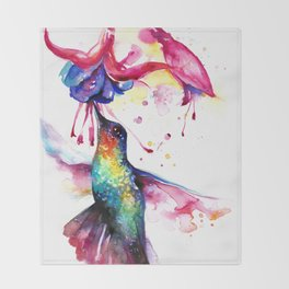 Rainbow Hummingbird in Flowers with Nectar Throw Blanket