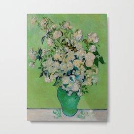 White Rose In A Vase Vincent van Gogh 1890 Oil on Canvas Still Life With Floral Arrangement Metal Print