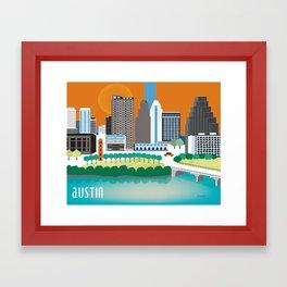 Austin, Texas - Skyline Illustration by Loose Petals Framed Art Print