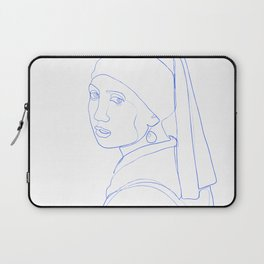 Girl with Pearl Earring - Line Art Laptop Sleeve