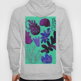 tropical leaves embroidered pattern Hoody