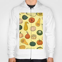 Seamless pattern with different hand drawn squashes. Endless texture with various pumpkins. Texture with autumn vegetables Hoody