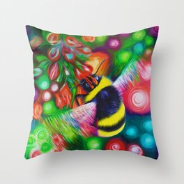 Bumblebee and Summer Flowers Throw Pillow
