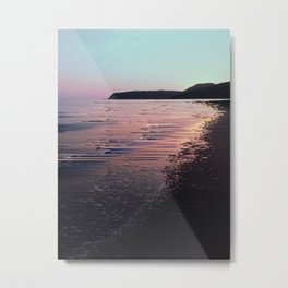 Glitched Sunset on the Ocean Metal Print