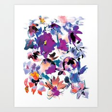 Sara Floral Blue Art Print