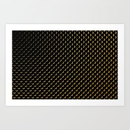 Gold half moons on black Art Print