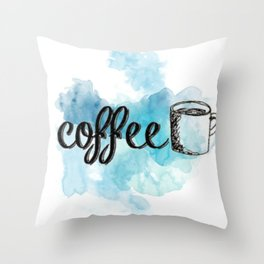 Coffee Blue Splash Throw Pillow