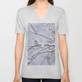 Blue Tit On A Snowy Branch Winter Scene #decor #society6 Unisex V-Neck