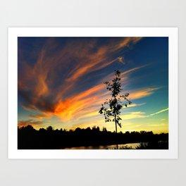 Sunset Over the Clarks Fork River Art Print