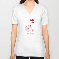 i like you V-neck T-shirts featuring I WHEELY LIKE YOU by CharmArtStudio