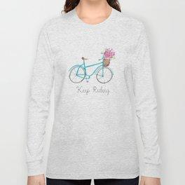 Keep Riding Bike, Watercolor Bike Long Sleeve T-shirt