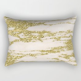 Marble - Gold Marble Glittery Light Pink and Yellow Gold Rectangular Pillow