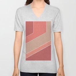 Terracotta , beige , abstract Unisex V-Neck
