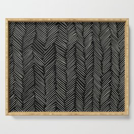 Herringbone Cream on Black Serving Tray