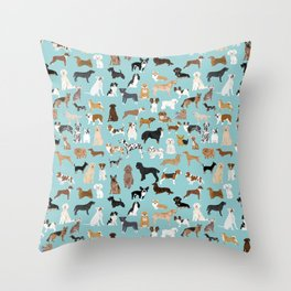Dogs pattern print must have gifts for dog person mint dog breeds Throw Pillow
