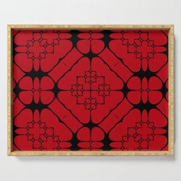 Japanese Frame Pattern (Blood Red) Serving Tray