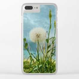 Touchdown - Dandelion Raises Arms in Air During Storm Clear iPhone Case