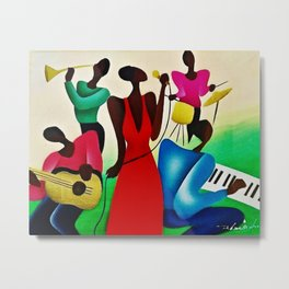 African American Masterpiece 'Bourbon Street New Orleans Jazz' by Fred Blassingham Metal Print
