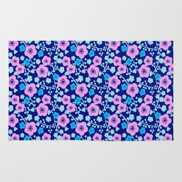 Plum Blossoms colorful Japanese floral pattern Rug