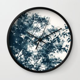 Blue Leaves #1 Wall Clock