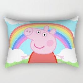 Peppa w/ rainbow Rectangular Pillow