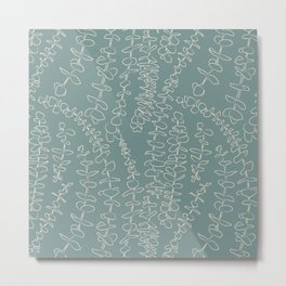 Round Eucalyptus Leaf Toss in Sage Green + Natural Metal Print
