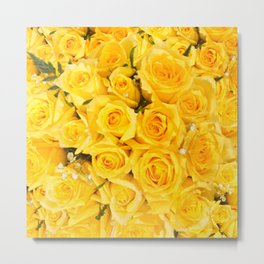 YELLOW ROSES CLUSTERED Metal Print